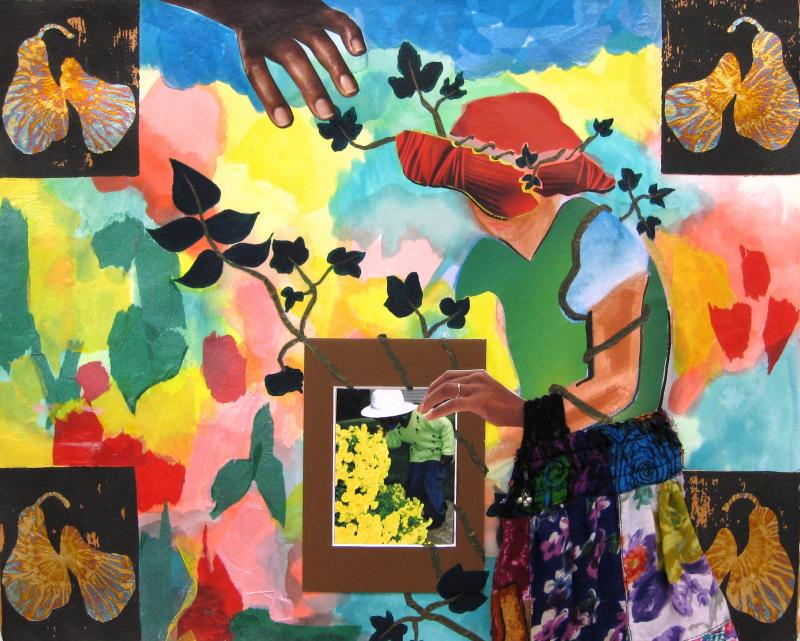 Nurturing and Growing: Homage to Romare Bearden,Collage on paper, 2008.